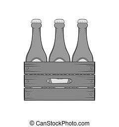 caja, de madera, cerveza, botellas, icono