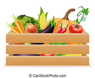 caja de madera, con, fresco, y, sano, vegetales, ilustración