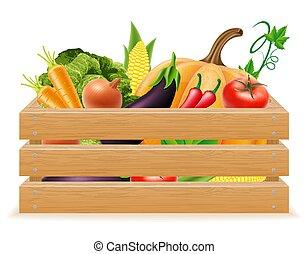 caja de madera, con, fresco, y, sano, vegetales, vector, ilustración