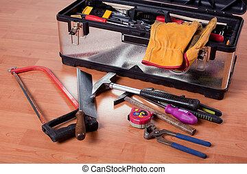caja, de madera, herramienta, herramientas, piso