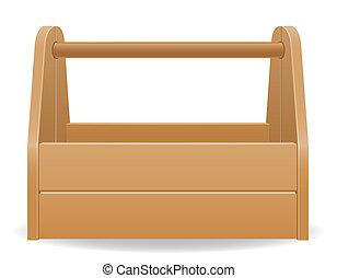 caja de madera, herramienta, ilustración