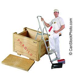 caja de madera, pintor, elevación