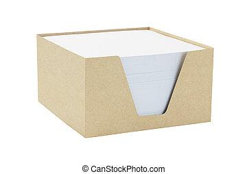 caja, de, memorándum, papeles