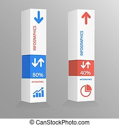 caja, des, moderno, plantilla, infographic