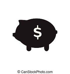 caja, dinero, aislado, cerdito