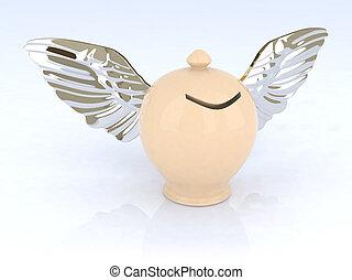 caja, dinero, alas