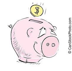 caja, dinero, bosquejo, cerdo, icono