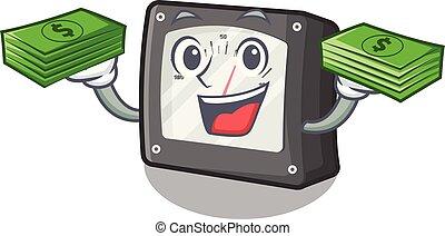 caja, dinero, carácter, metro, bolsa, amperio