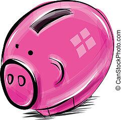 caja, dinero, caricatura, cerdo