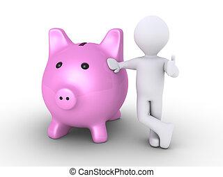 caja, dinero, cerdo, persona
