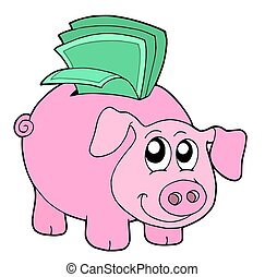 caja, dinero, cerdo