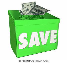 caja, dinero del ahorro, ilustración, futuro, depósito, excepto, banco, 3d