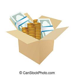 caja, dinero, diseño, ilustración