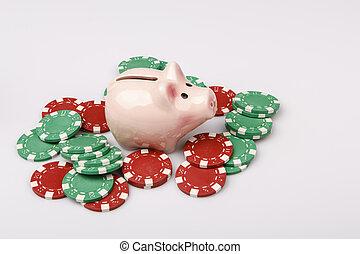 caja, dinero, encima, casino, cerdo, blanco, pedacitos