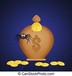 caja, dinero, ilustración