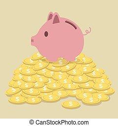 caja, dinero, pig-shaped