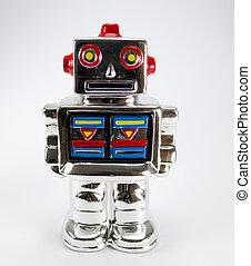 caja, dinero, robot