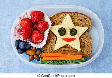 caja, divertido, escuela, niños, forma, alimento, almuerzo,...
