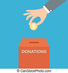 caja, donar, poniendo, moneda, mano