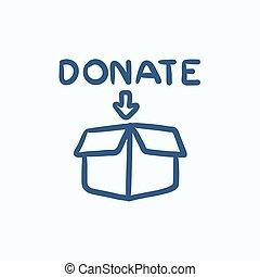 caja donativo, bosquejo, icon.