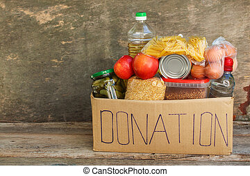 caja donativo, comida.