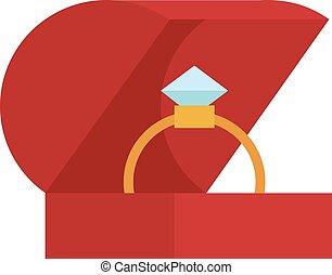 caja, dorado, aislado, Plano de fondo, boda, anillo, blanco