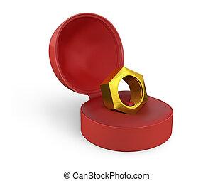 caja, dorado, tornillo, hembra, anillo blanco