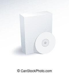 caja, dvd, disco del cd, blanco