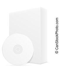 caja, dvd, ilustración, cd, embalaje, bisk, blanco