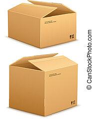 caja, embalaje, cartón