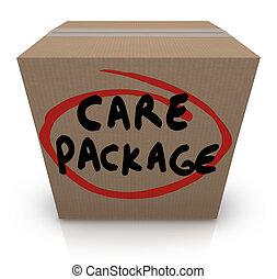 caja, emergencia, paquete, apoyo, palabras, ayuda, cartón, cuidado