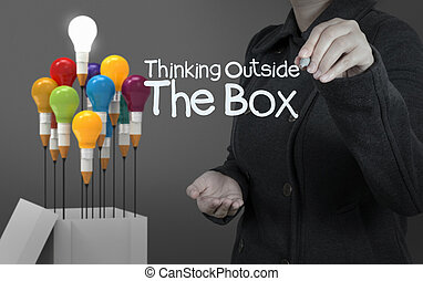 caja, empates, pensamiento, mujer de negocios, mano,...