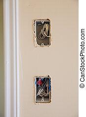 caja, enchufe, interruptor, alambres, eléctrico