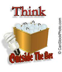 caja, energía, ahorro, exterior, pensar