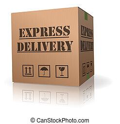 caja entrega, expres, cartón, paquete