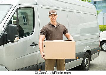 caja entrega, tenencia, hombre