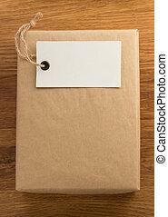 caja, envuelto, madera, envueltas, paquete