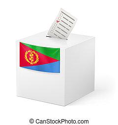 caja, eritrea, paper., votación, papeleta