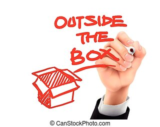 caja, escrito, 3d, exterior, mano