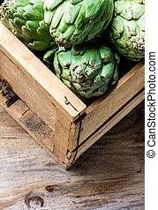 caja, espacio, concept., artichoke., fresco, copia, cosecha