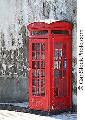 caja, estilo, viejo, tradicional, teléfono, rojo