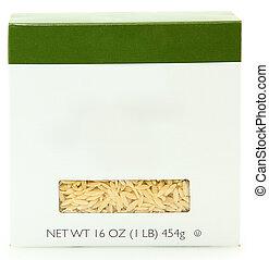 caja, etiqueta, 16oz, blanco, tallarines, orzo