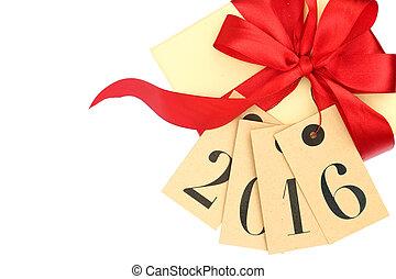 caja, etiquetas obsequio, aislado, arco, año, nuevo, blanco,...