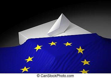 caja, europa, bandera, papeleta