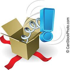 caja, exclamación, concepto, marca, gato, sorpresa