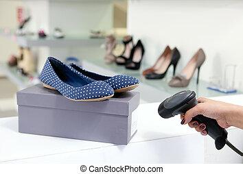 caja, exploración, código, zapato
