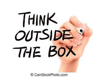 caja, exterior, mano escrita, palabras, pensar