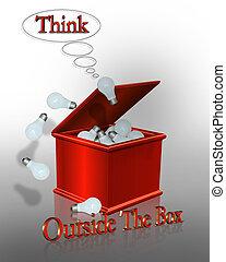 caja, exterior, pensar