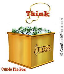 caja, exterior, pensar, euro