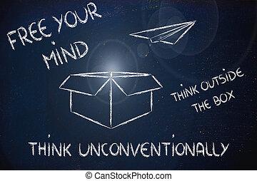 caja, exterior, vision:, empresa / negocio, pensar